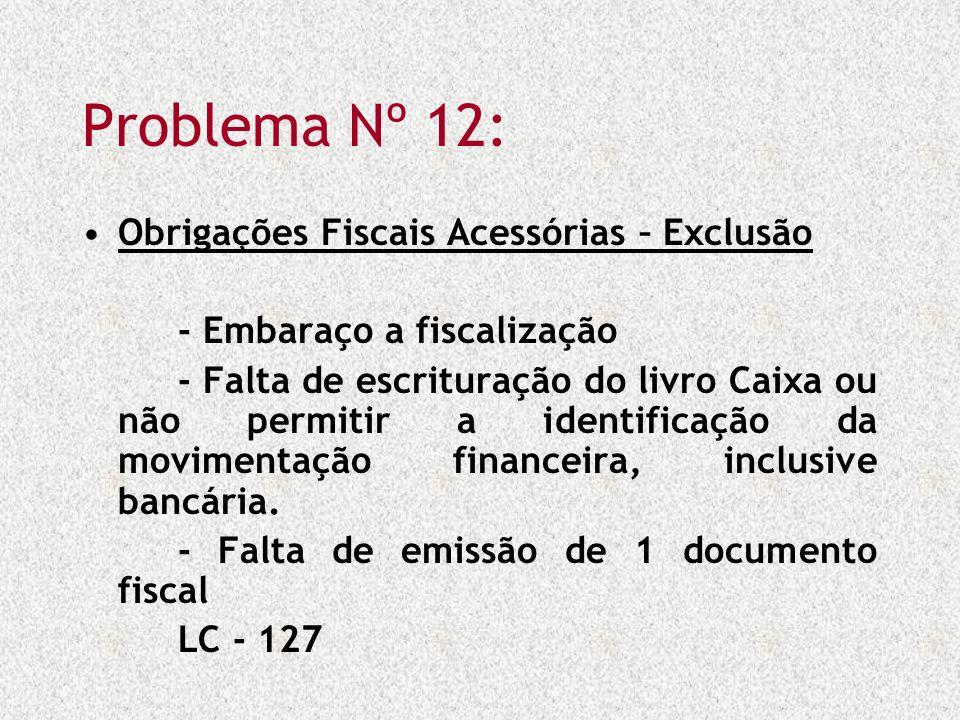 Problema Nº 12: Obrigações Fiscais Acessórias – Exclusão - Embaraço a fiscalização - Falta de escrituração do livro Caixa ou não permitir a identifica