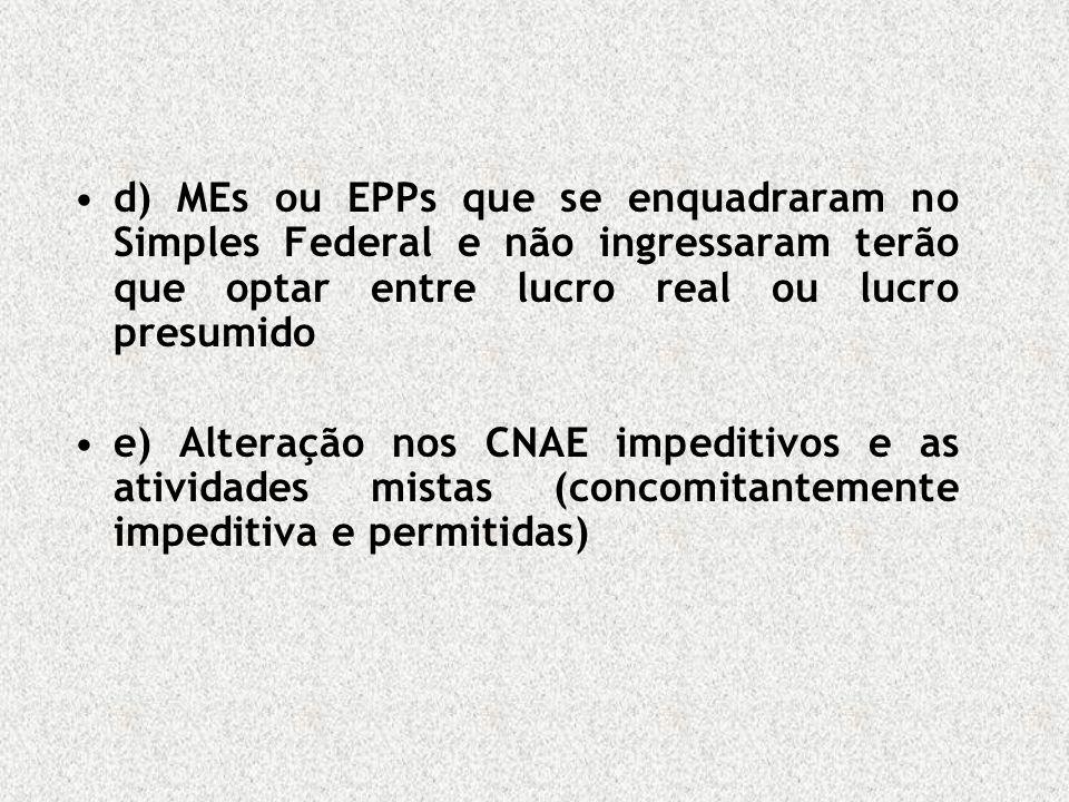 d) MEs ou EPPs que se enquadraram no Simples Federal e não ingressaram terão que optar entre lucro real ou lucro presumido e) Alteração nos CNAE imped