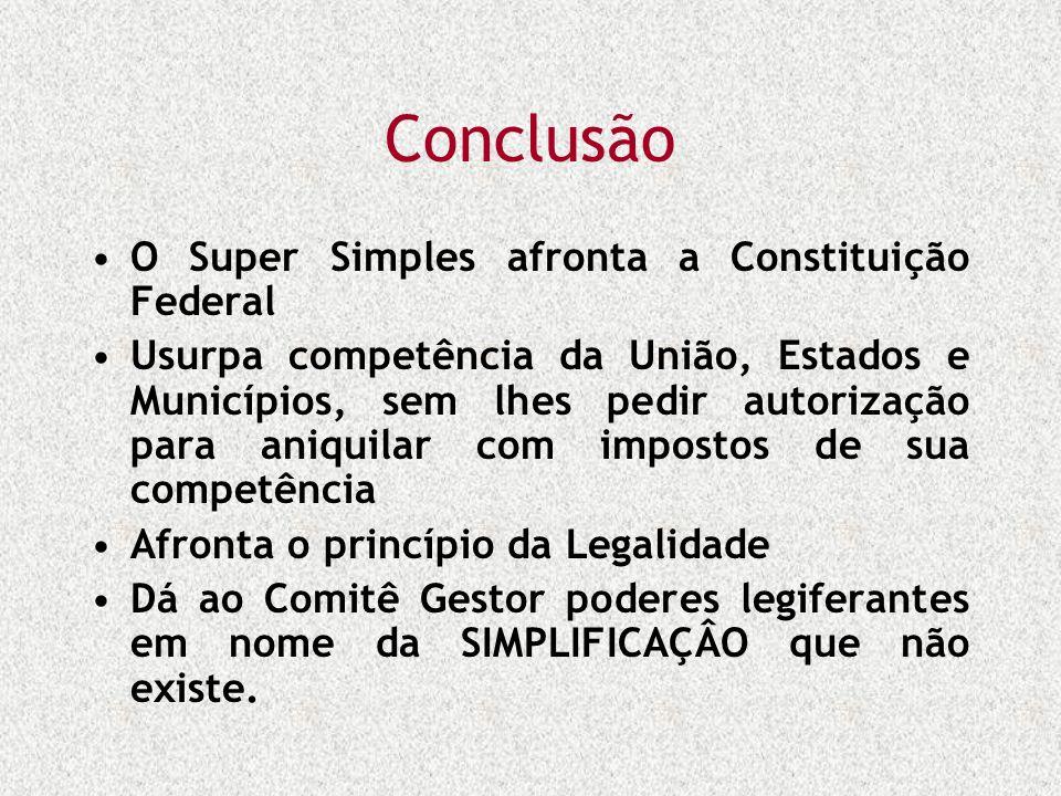 Conclusão O Super Simples afronta a Constituição Federal Usurpa competência da União, Estados e Municípios, sem lhes pedir autorização para aniquilar