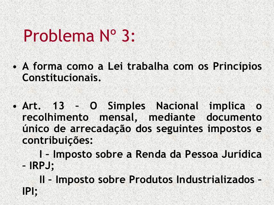 Problema Nº 3: A forma como a Lei trabalha com os Princípios Constitucionais. Art. 13 – O Simples Nacional implica o recolhimento mensal, mediante doc