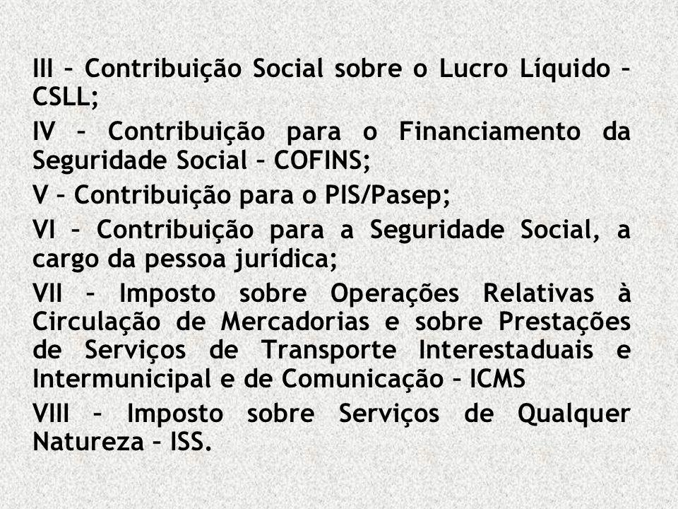 III – Contribuição Social sobre o Lucro Líquido – CSLL; IV – Contribuição para o Financiamento da Seguridade Social – COFINS; V – Contribuição para o