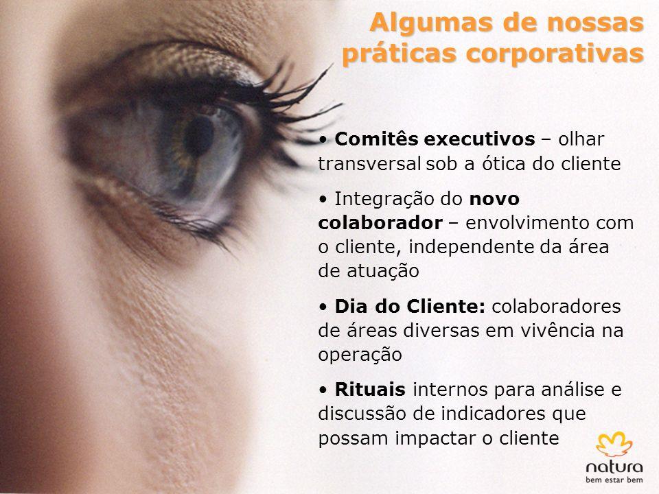 Algumas de nossas práticas corporativas Comitês executivos – olhar transversal sob a ótica do cliente Integração do novo colaborador – envolvimento co