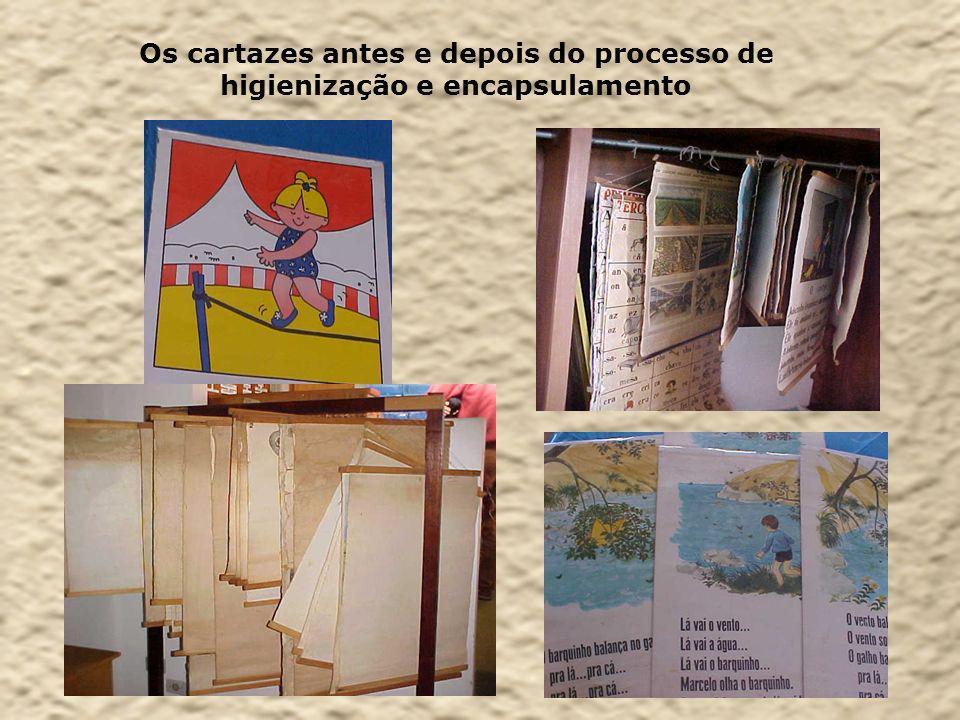 Os cartazes antes e depois do processo de higienização e encapsulamento