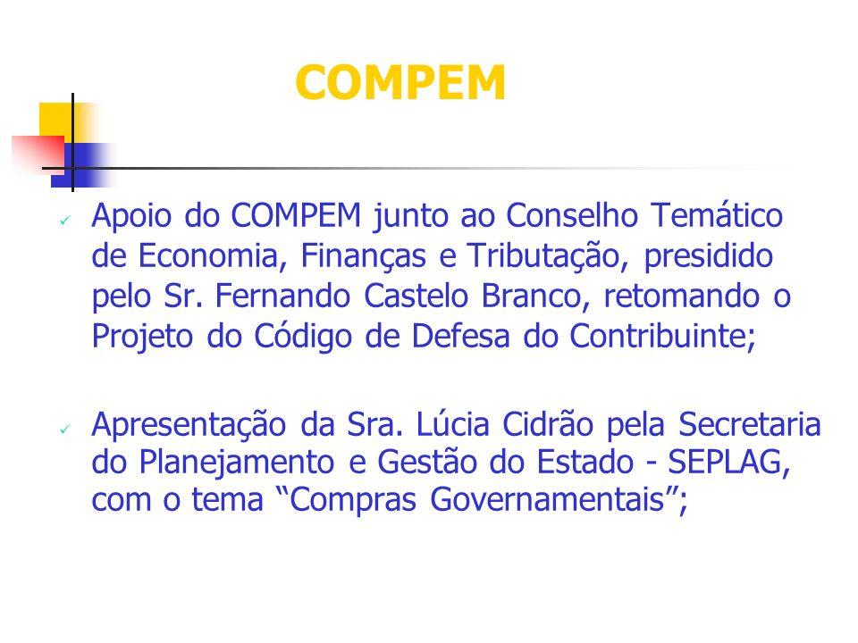 Apoio do COMPEM junto ao Conselho Temático de Economia, Finanças e Tributação, presidido pelo Sr. Fernando Castelo Branco, retomando o Projeto do Códi
