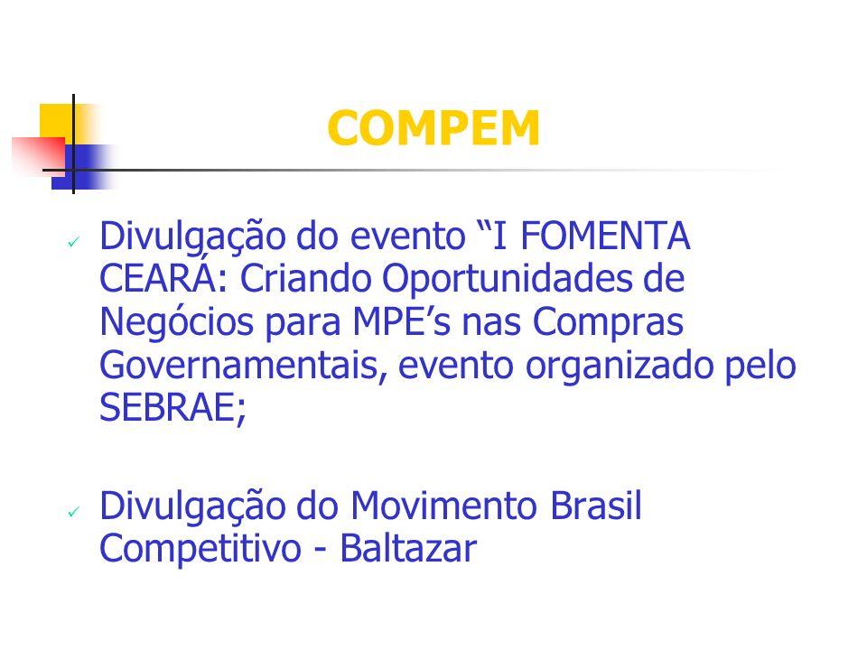 Divulgação do evento I FOMENTA CEARÁ: Criando Oportunidades de Negócios para MPEs nas Compras Governamentais, evento organizado pelo SEBRAE; Divulgação do Movimento Brasil Competitivo - Baltazar