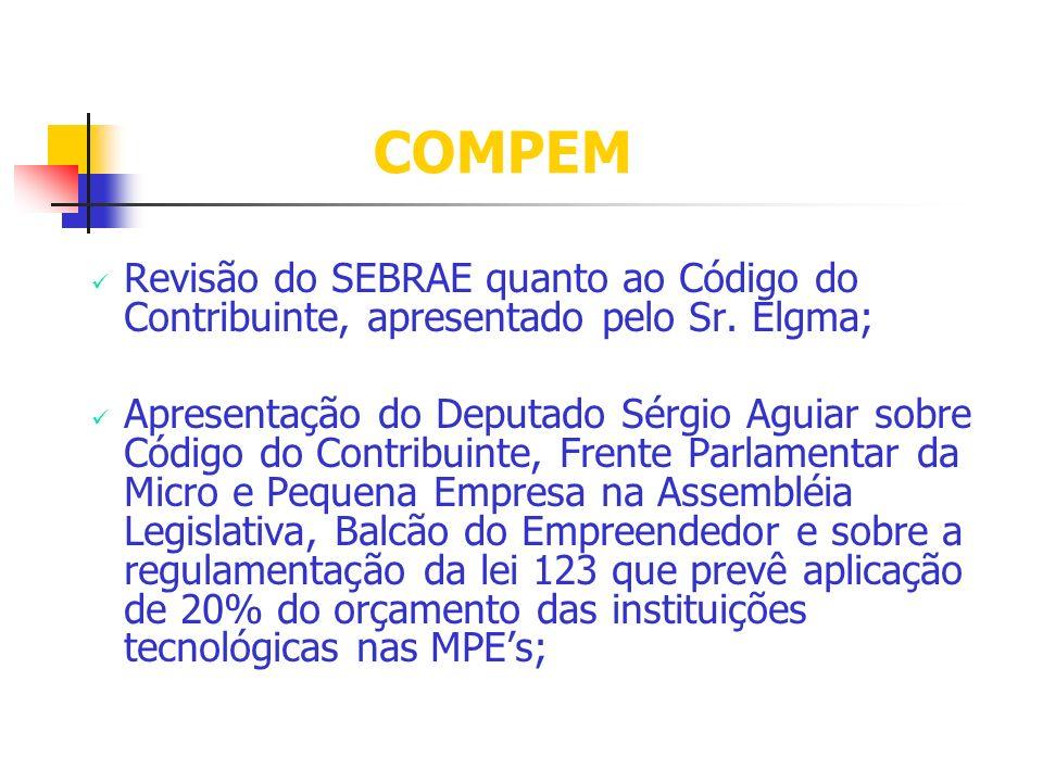 COMPEM Revisão do SEBRAE quanto ao Código do Contribuinte, apresentado pelo Sr. Elgma; Apresentação do Deputado Sérgio Aguiar sobre Código do Contribu
