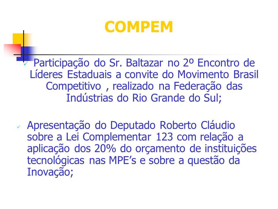 COMPEM Participação do Sr. Baltazar no 2º Encontro de Líderes Estaduais a convite do Movimento Brasil Competitivo, realizado na Federação das Indústri
