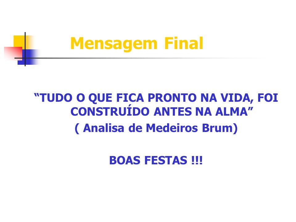 Mensagem Final TUDO O QUE FICA PRONTO NA VIDA, FOI CONSTRUÍDO ANTES NA ALMA ( Analisa de Medeiros Brum) BOAS FESTAS !!!