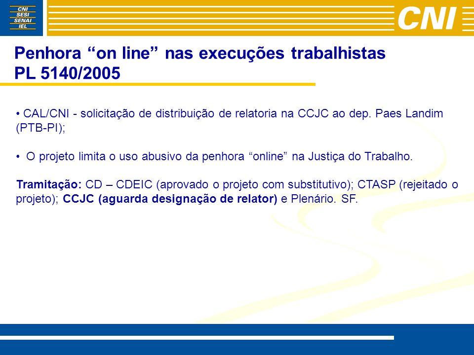 Penhora on line nas execuções trabalhistas PL 5140/2005 CAL/CNI - solicitação de distribuição de relatoria na CCJC ao dep. Paes Landim (PTB-PI); O pro
