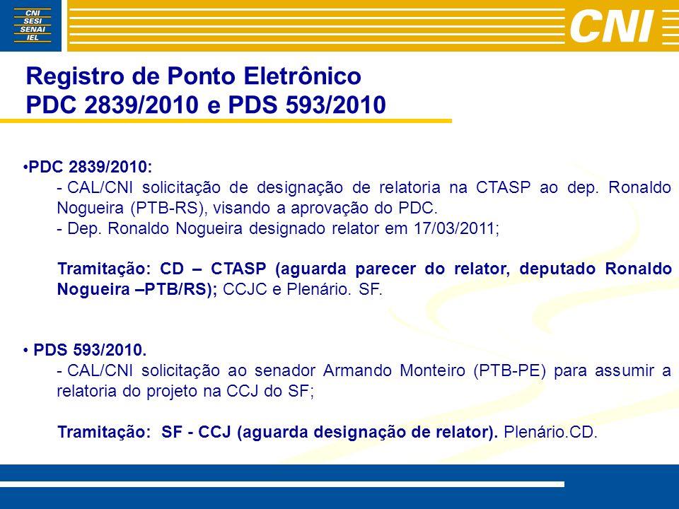 Registro de Ponto Eletrônico PDC 2839/2010 e PDS 593/2010 PDC 2839/2010: - - CAL/CNI solicitação de designação de relatoria na CTASP ao dep. Ronaldo N