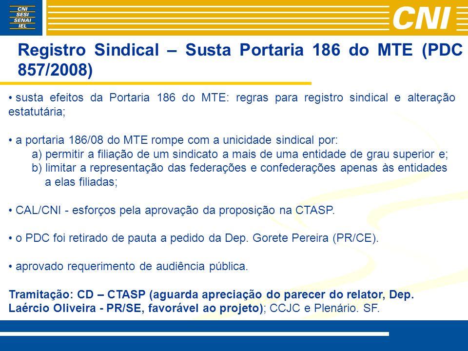 Registro Sindical – Susta Portaria 186 do MTE (PDC 857/2008) susta efeitos da Portaria 186 do MTE: regras para registro sindical e alteração estatutár