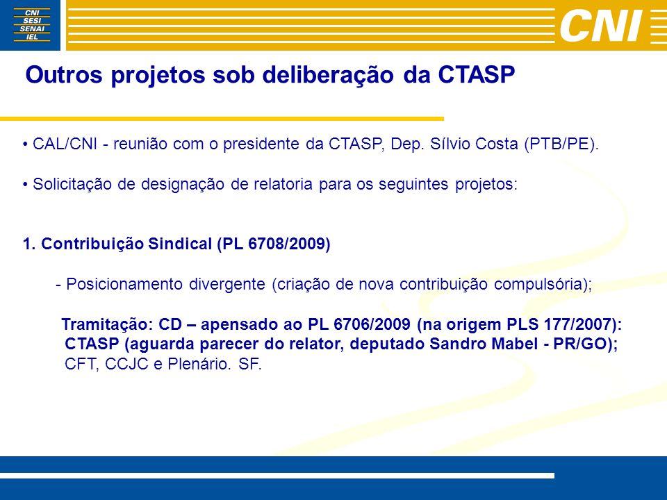 Outros projetos sob deliberação da CTASP CAL/CNI - reunião com o presidente da CTASP, Dep. Sílvio Costa (PTB/PE). Solicitação de designação de relator