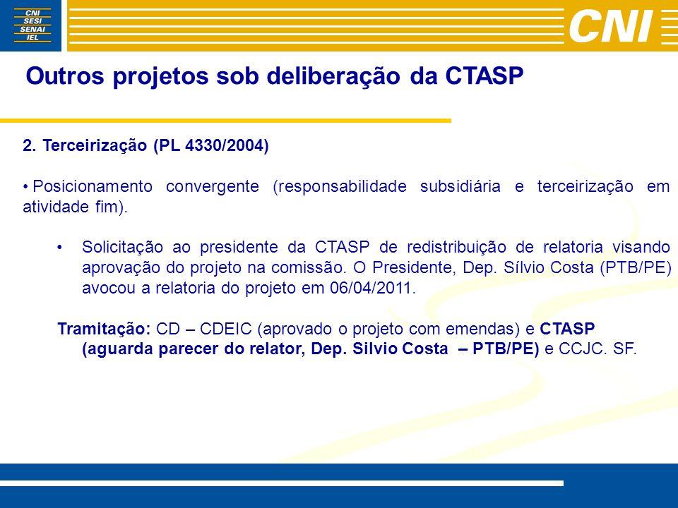 Outros projetos sob deliberação da CTASP 2. Terceirização (PL 4330/2004) Posicionamento convergente (responsabilidade subsidiária e terceirização em a