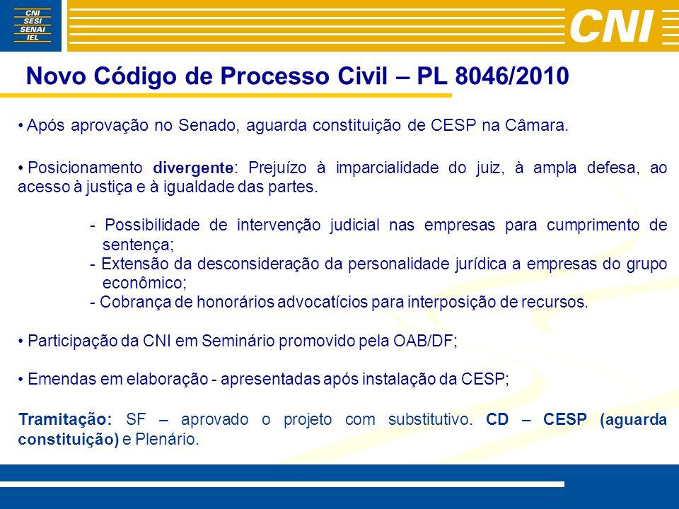 Novo Código de Processo Civil – PL 8046/2010 Após aprovação no Senado, aguarda constituição de CESP na Câmara. Posicionamento divergente: Prejuízo à i