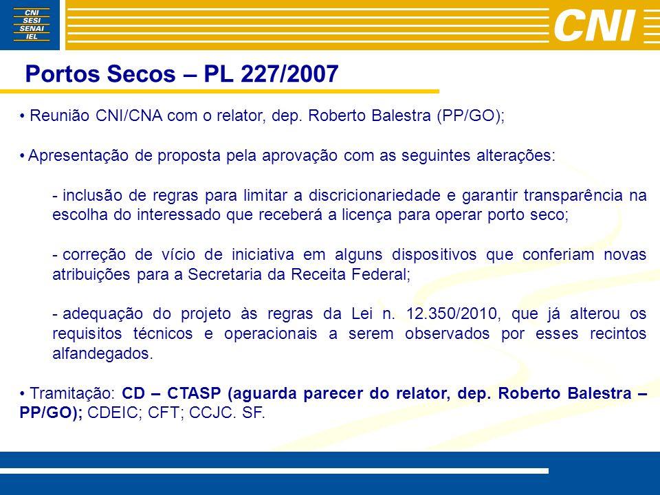 Portos Secos – PL 227/2007 Reunião CNI/CNA com o relator, dep. Roberto Balestra (PP/GO); Apresentação de proposta pela aprovação com as seguintes alte