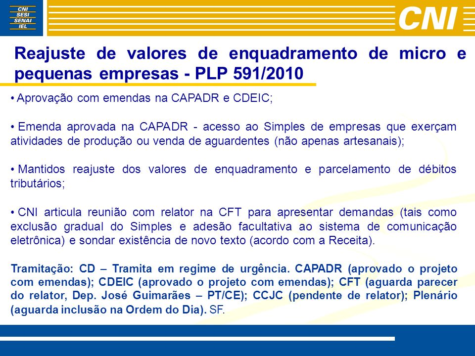 Reajuste de valores de enquadramento de micro e pequenas empresas - PLP 591/2010 Aprovação com emendas na CAPADR e CDEIC; Emenda aprovada na CAPADR -