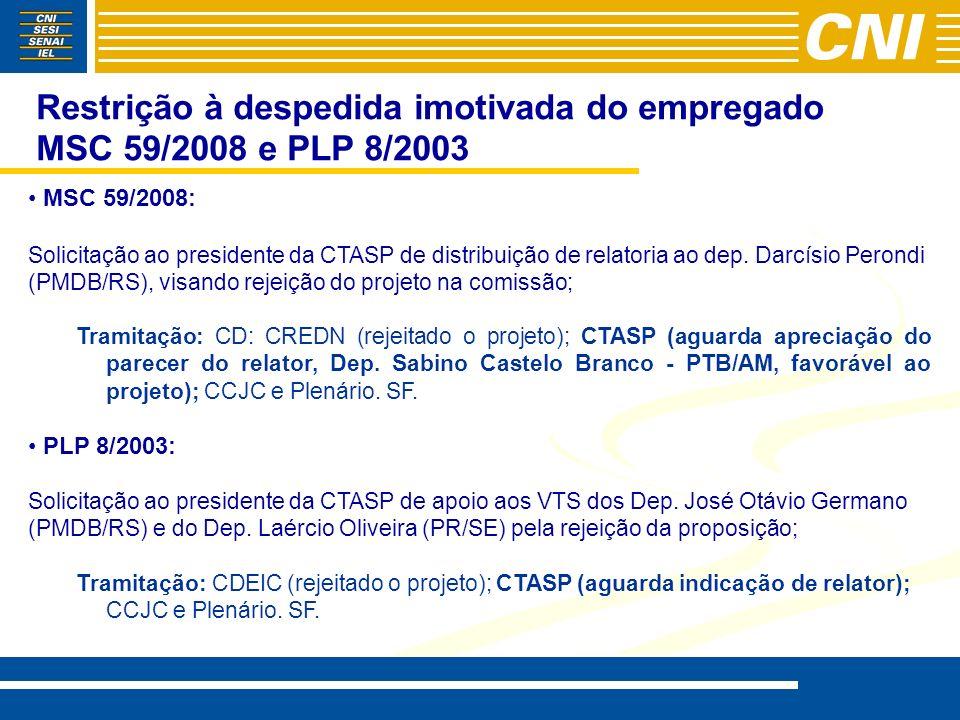 Restrição à despedida imotivada do empregado MSC 59/2008 e PLP 8/2003 MSC 59/2008: Solicitação ao presidente da CTASP de distribuição de relatoria ao