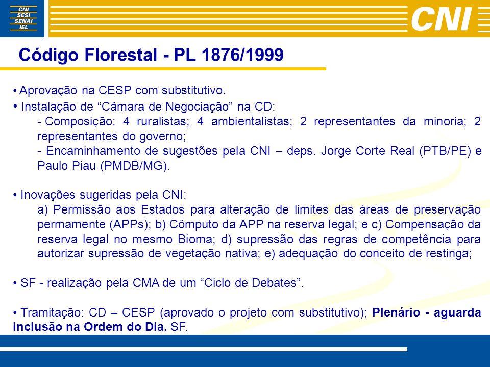 Código Florestal - PL 1876/1999 Aprovação na CESP com substitutivo. Instalação de Câmara de Negociação na CD: - - Composição: 4 ruralistas; 4 ambienta