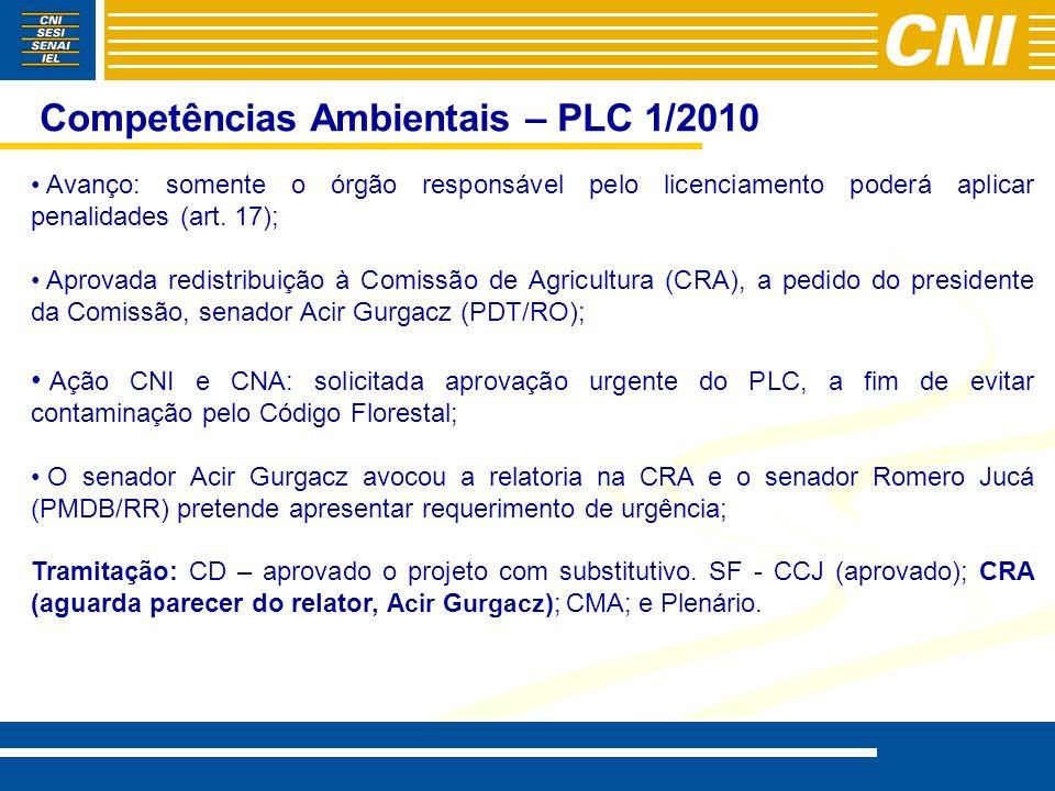 Competências Ambientais – PLC 1/2010 Avanço: somente o órgão responsável pelo licenciamento poderá aplicar penalidades (art. 17); Aprovada redistribui