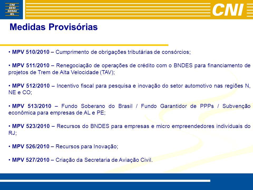 Medidas Provisórias MPV 510/2010 – Cumprimento de obrigações tributárias de consórcios; MPV 511/2010 – Renegociação de operações de crédito com o BNDE