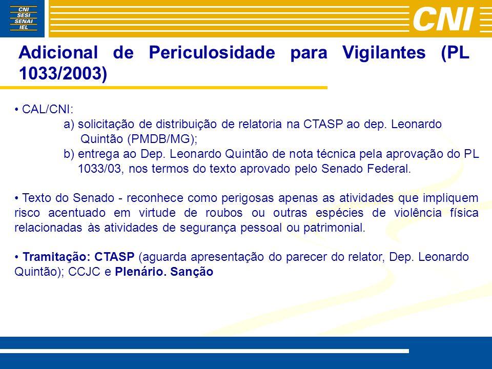 Adicional de Periculosidade para Vigilantes (PL 1033/2003) CAL/CNI: a) solicitação de distribuição de relatoria na CTASP ao dep. Leonardo Quintão (PMD