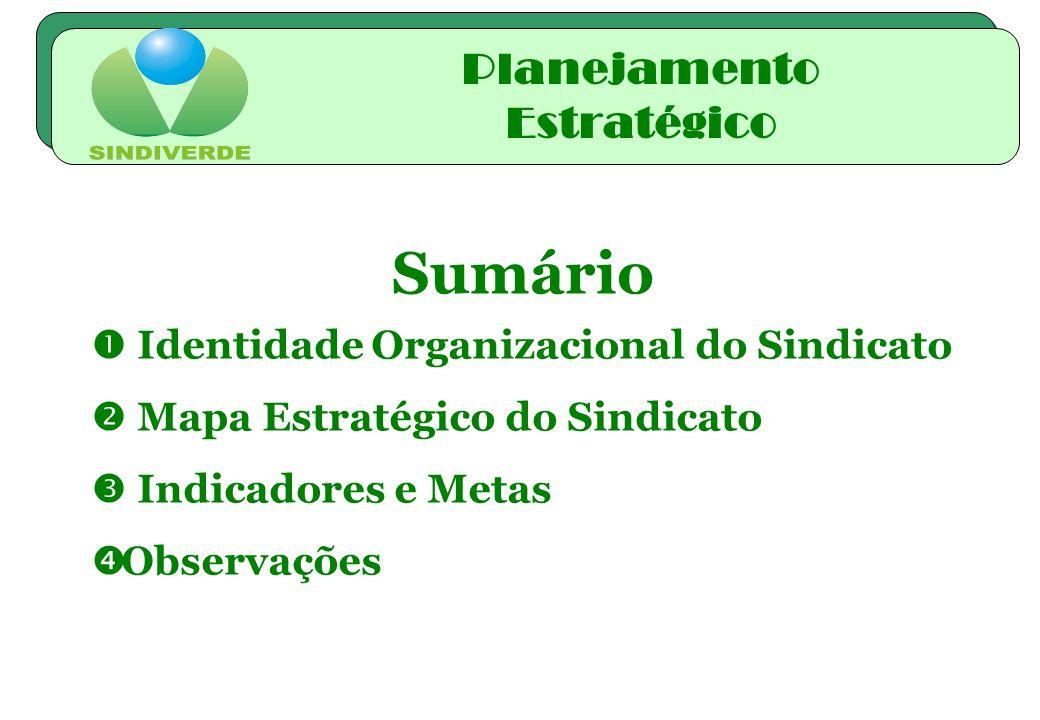 Sumário Identidade Organizacional do Sindicato Mapa Estratégico do Sindicato Indicadores e Metas Observações Planejamento Estratégico