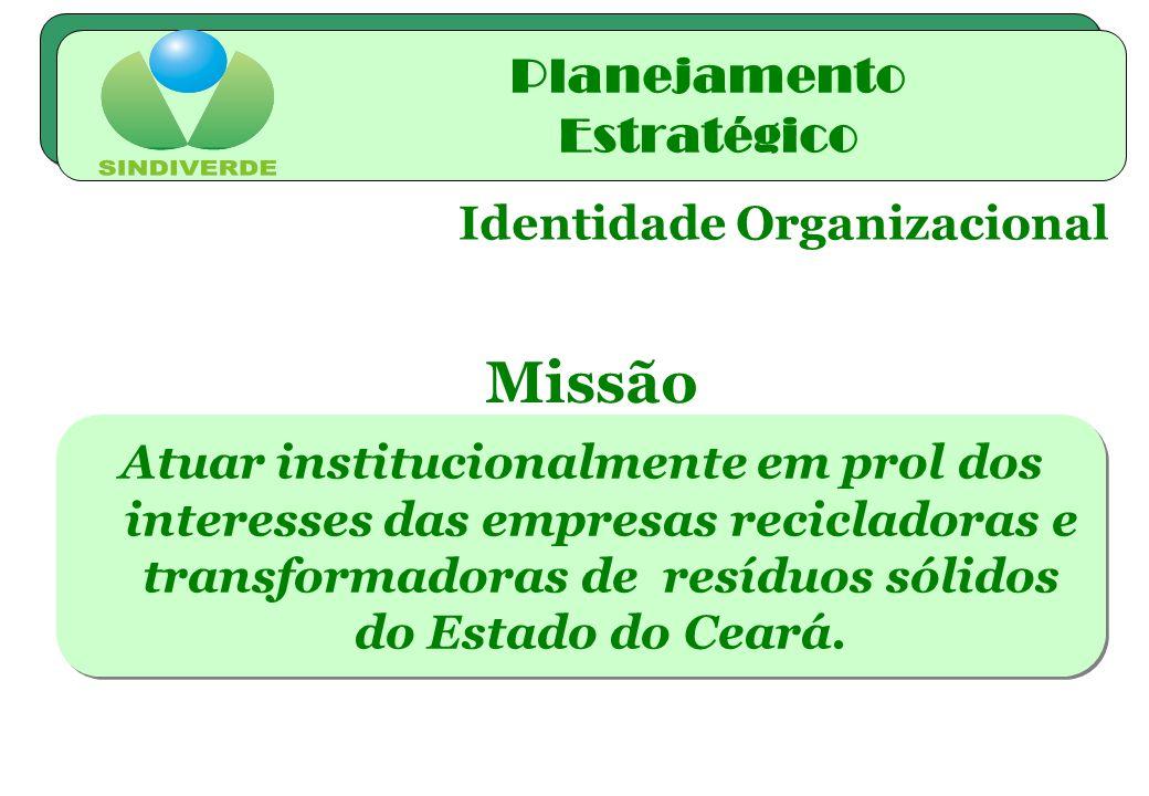 Identidade Organizacional Atuar institucionalmente em prol dos interesses das empresas recicladoras e transformadoras de resíduos sólidos do Estado do