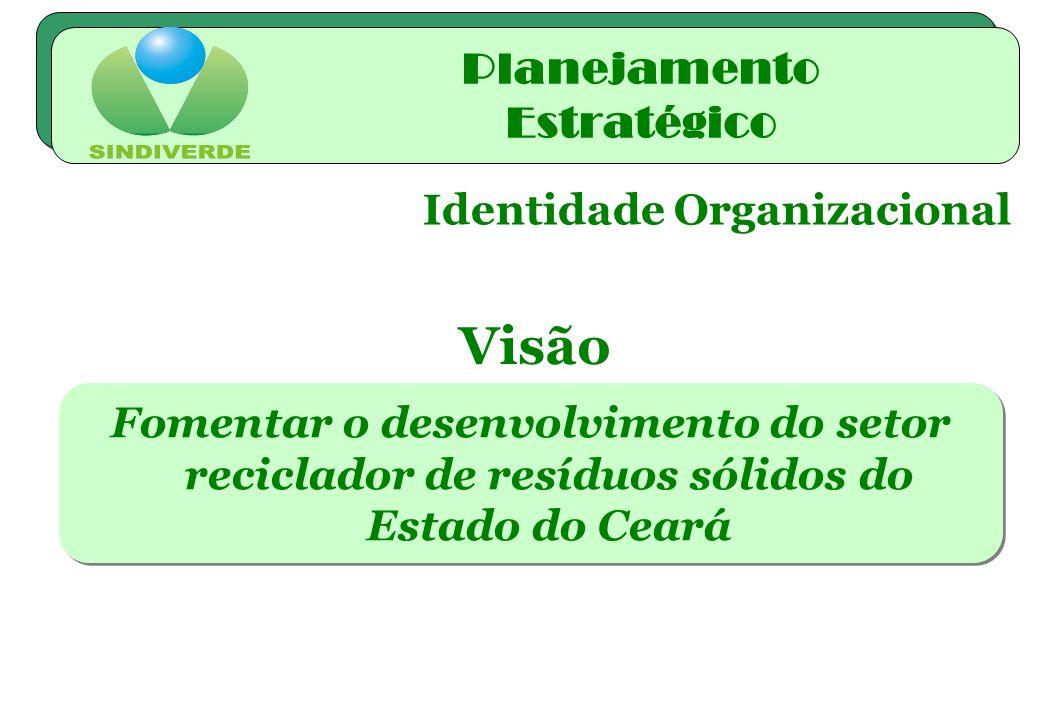 Identidade Organizacional Fomentar o desenvolvimento do setor reciclador de resíduos sólidos do Estado do Ceará Visão Planejamento Estratégico