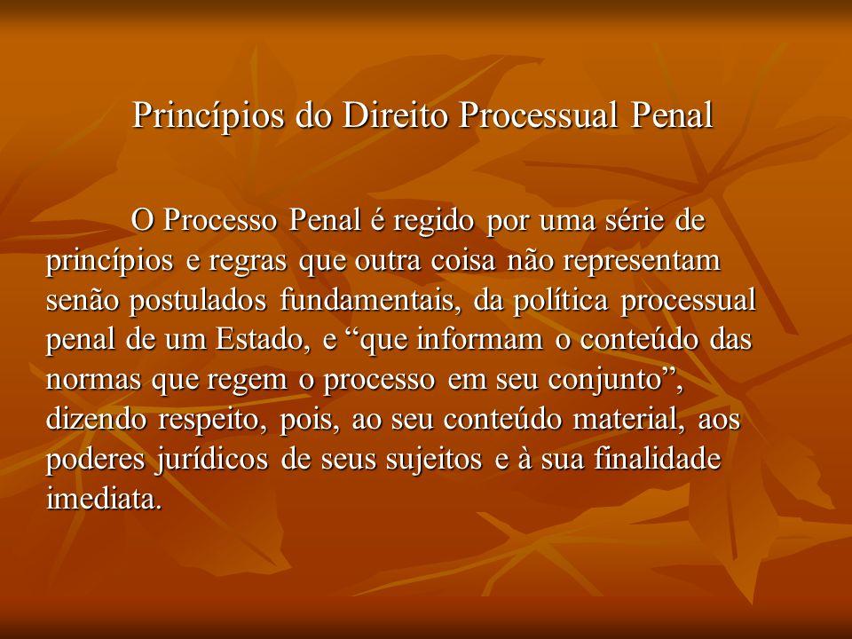 Princípios do Direito Processual Penal O Processo Penal é regido por uma série de princípios e regras que outra coisa não representam senão postulados