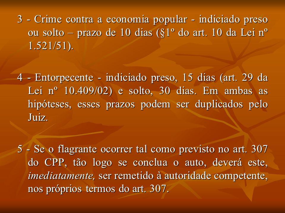 3 - Crime contra a economia popular - indiciado preso ou solto – prazo de 10 dias (§1º do art. 10 da Lei nº 1.521/51). 4 - Entorpecente - indiciado pr
