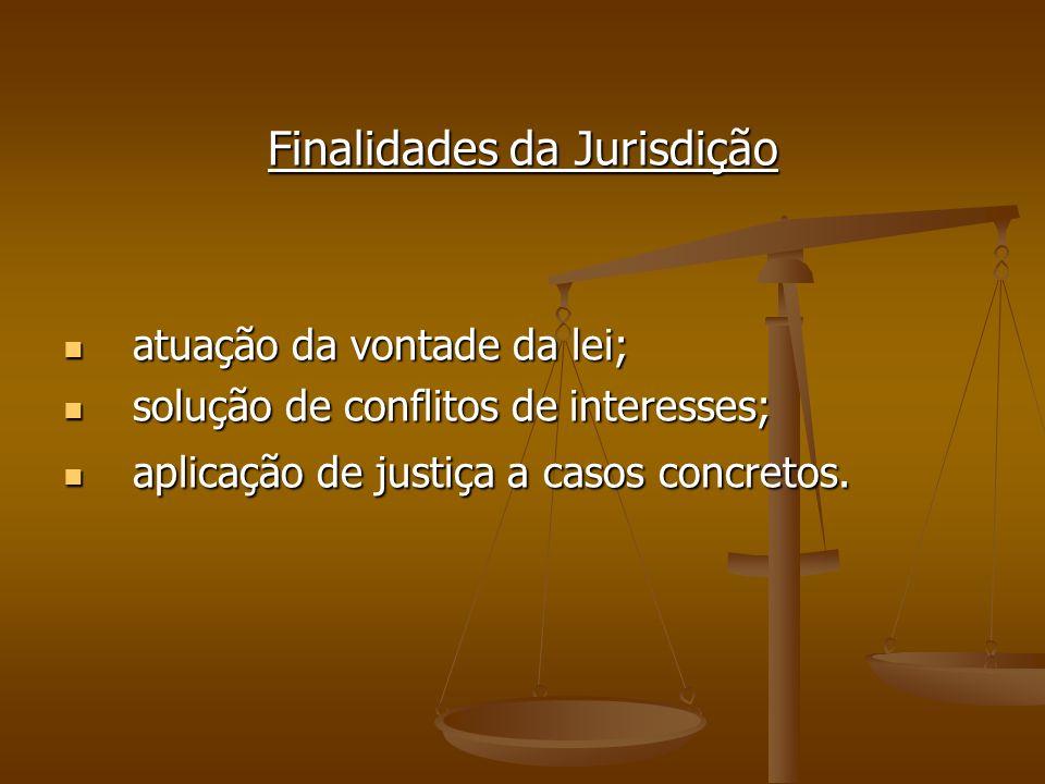 Finalidades da Jurisdição atuação da vontade da lei; atuação da vontade da lei; solução de conflitos de interesses; solução de conflitos de interesses
