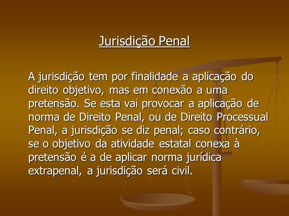 Jurisdição Penal A jurisdição tem por finalidade a aplicação do direito objetivo, mas em conexão a uma pretensão. Se esta vai provocar a aplicação de