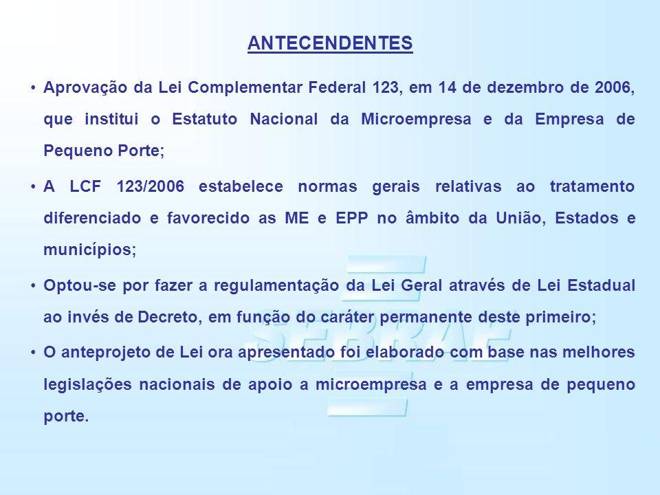 ANTECENDENTES Aprovação da Lei Complementar Federal 123, em 14 de dezembro de 2006, que institui o Estatuto Nacional da Microempresa e da Empresa de P