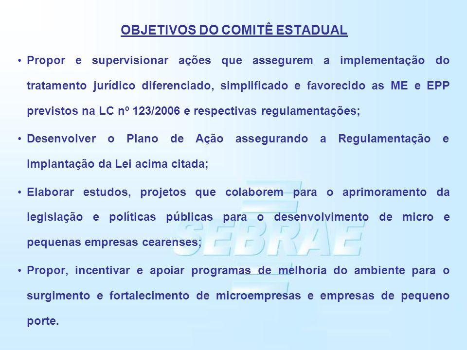 OBJETIVOS DO COMITÊ ESTADUAL Propor e supervisionar ações que assegurem a implementação do tratamento jurídico diferenciado, simplificado e favorecido