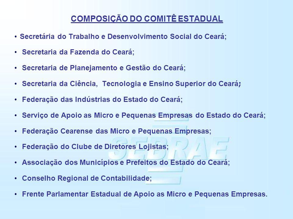 COMPOSIÇÃO DO COMITÊ ESTADUAL Secretária do Trabalho e Desenvolvimento Social do Ceará; Secretaria da Fazenda do Ceará; Secretaria de Planejamento e G
