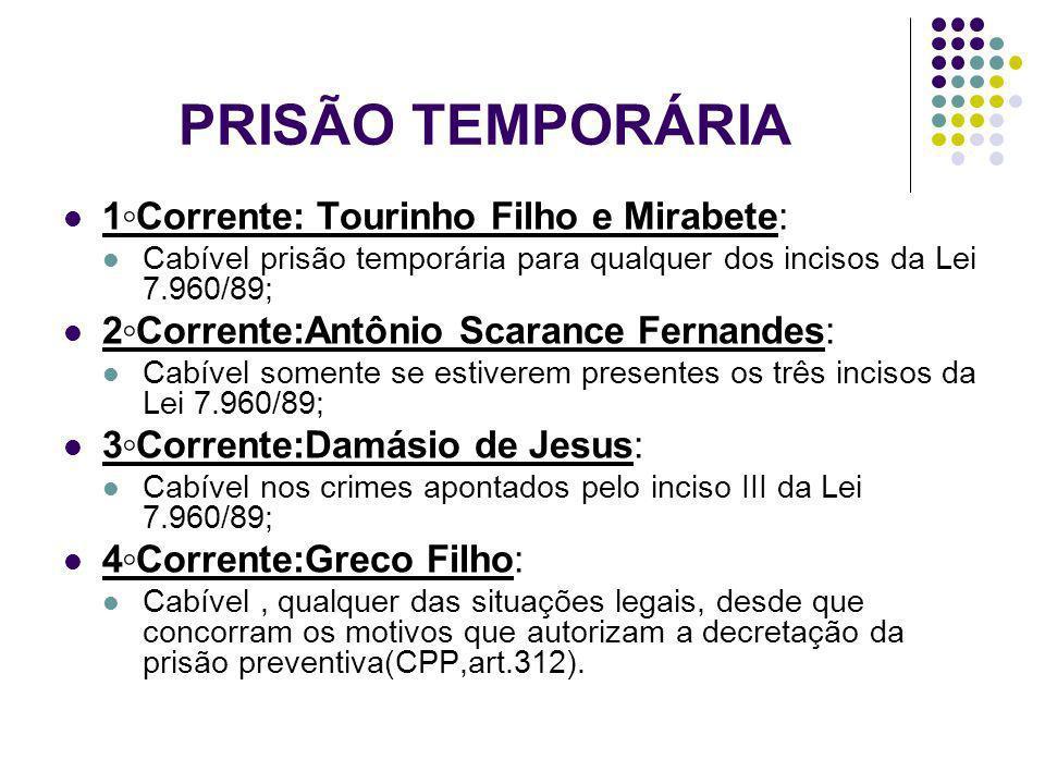 PRISÃO TEMPORÁRIA 1Corrente: Tourinho Filho e Mirabete: Cabível prisão temporária para qualquer dos incisos da Lei 7.960/89; 2Corrente:Antônio Scaranc