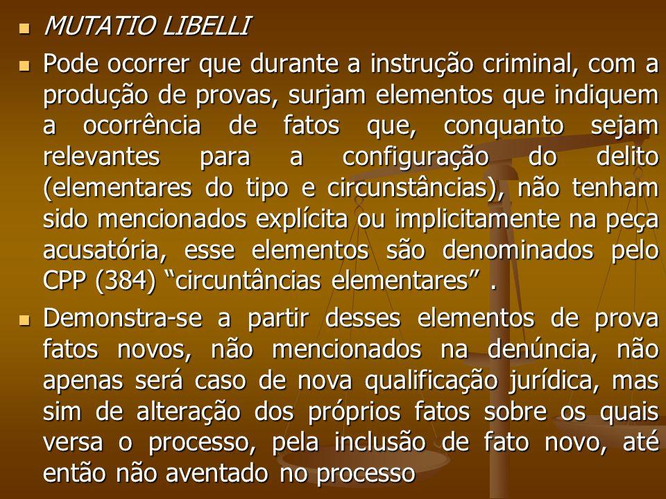 MUTATIO LIBELLI MUTATIO LIBELLI Pode ocorrer que durante a instrução criminal, com a produção de provas, surjam elementos que indiquem a ocorrência de