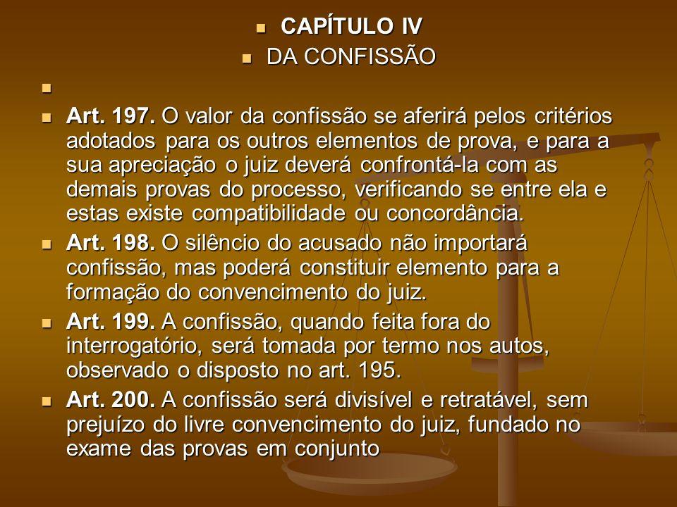 CAPÍTULO IV CAPÍTULO IV DA CONFISSÃO DA CONFISSÃO Art. 197. O valor da confissão se aferirá pelos critérios adotados para os outros elementos de prova