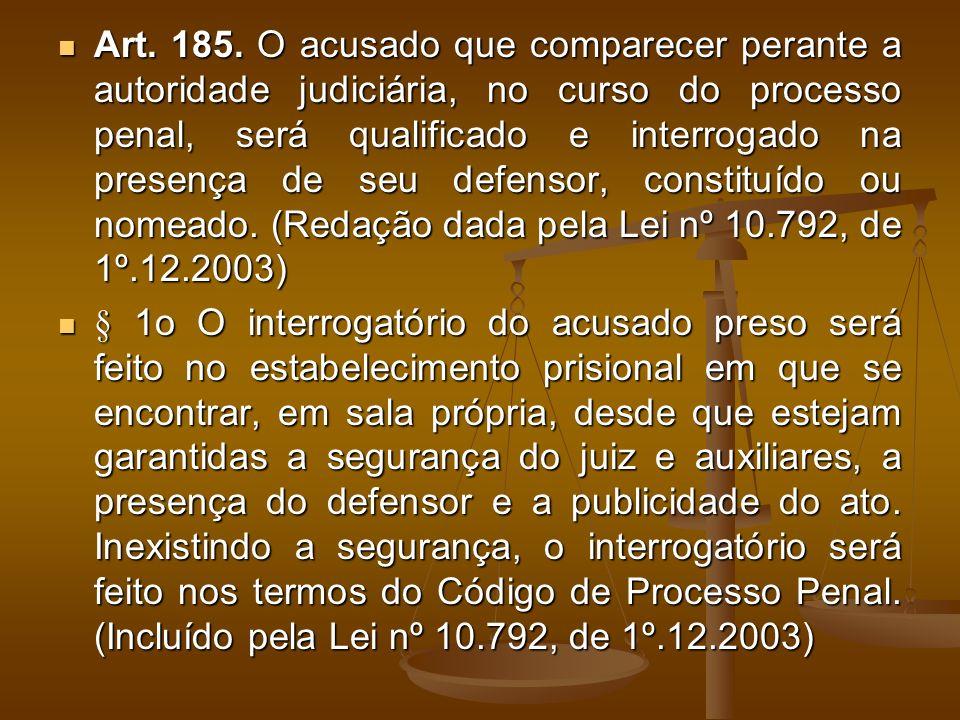Art. 185. O acusado que comparecer perante a autoridade judiciária, no curso do processo penal, será qualificado e interrogado na presença de seu defe