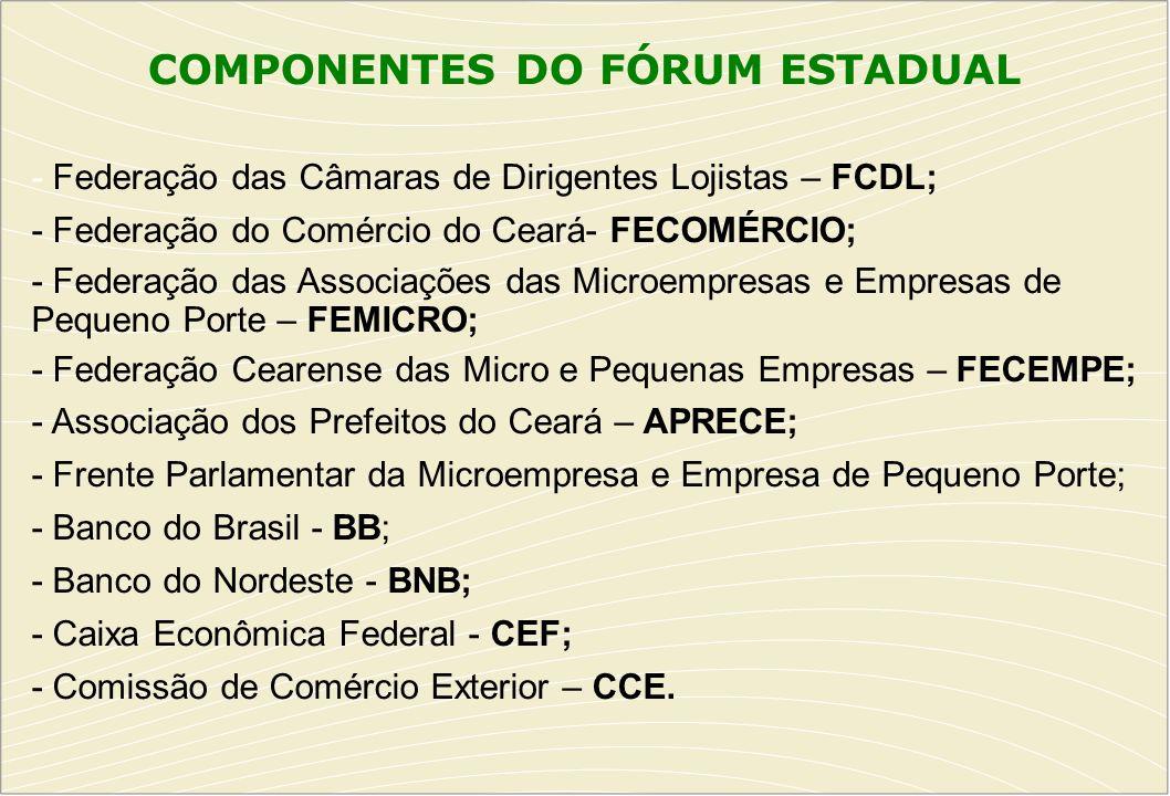 COMPONENTES DO FÓRUM ESTADUAL - Federação das Câmaras de Dirigentes Lojistas – FCDL; - Federação do Comércio do Ceará- FECOMÉRCIO; - Federação das Ass