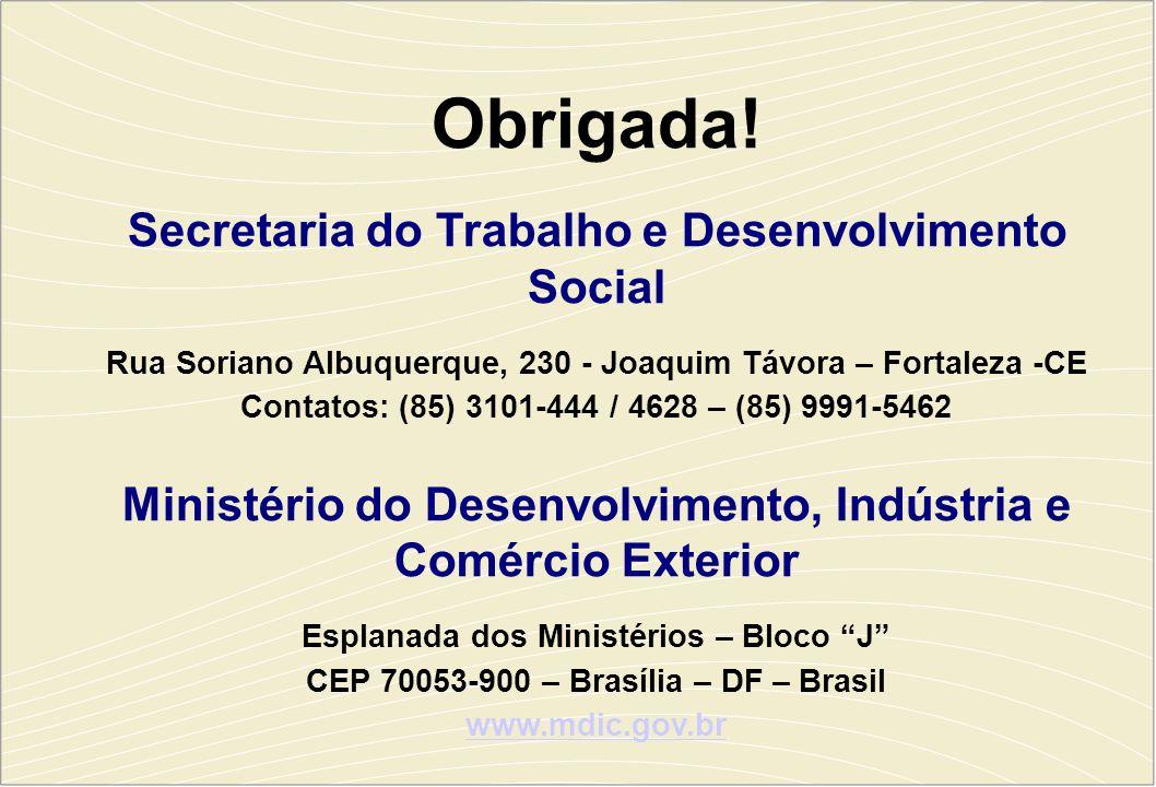 Obrigada! Secretaria do Trabalho e Desenvolvimento Social Rua Soriano Albuquerque, 230 - Joaquim Távora – Fortaleza -CE Contatos: (85) 3101-444 / 4628