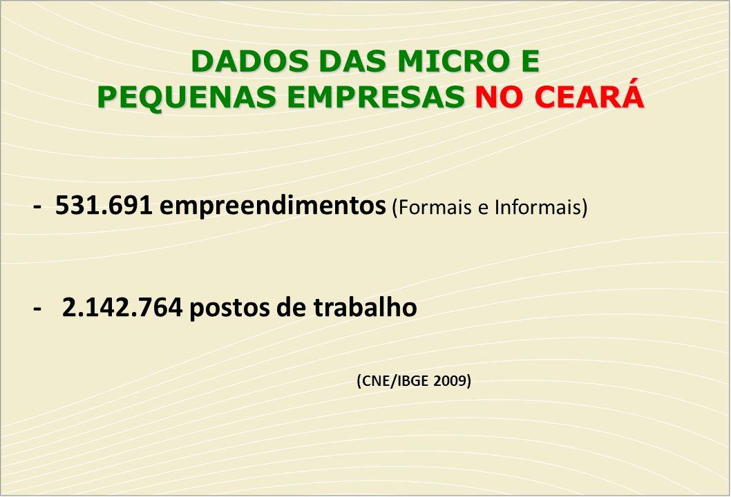 DADOS DAS MICRO E PEQUENAS EMPRESAS NO CEARÁ - 531.691 empreendimentos (Formais e Informais) - 2.142.764 postos de trabalho (CNE/IBGE 2009)