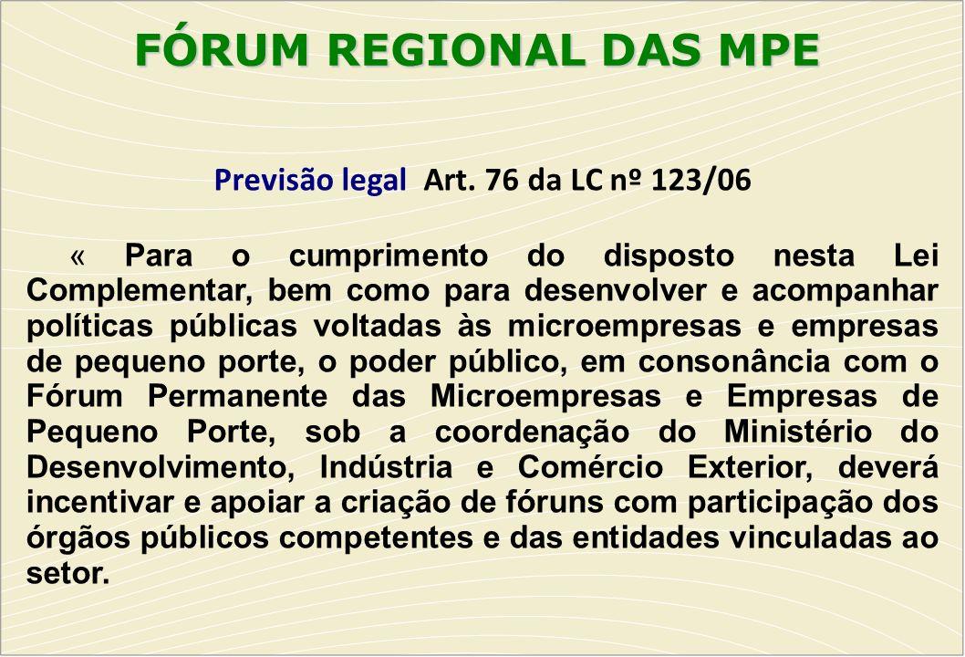 FÓRUM REGIONAL DAS MPE FÓRUM REGIONAL DAS MPE Previsão legal Art. 76 da LC nº 123/06 « Para o cumprimento do disposto nesta Lei Complementar, bem como