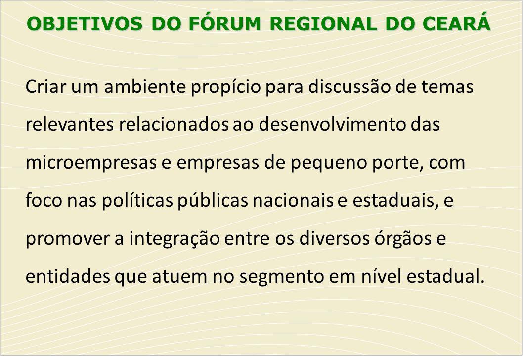 OBJETIVOS DO FÓRUM REGIONAL DO CEARÁ Criar um ambiente propício para discussão de temas relevantes relacionados ao desenvolvimento das microempresas e