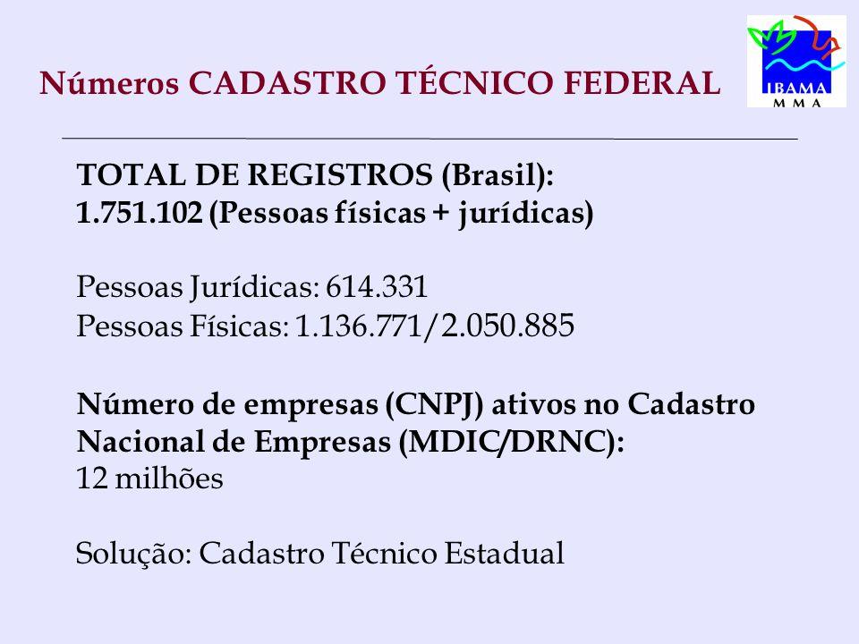 Números CADASTRO TÉCNICO FEDERAL TOTAL DE REGISTROS (Brasil): 1.751.102 (Pessoas físicas + jurídicas) Pessoas Jurídicas: 614.331 Pessoas Físicas: 1.136.771/ 2.050.885 Número de empresas (CNPJ) ativos no Cadastro Nacional de Empresas (MDIC/DRNC): 12 milhões Solução: Cadastro Técnico Estadual