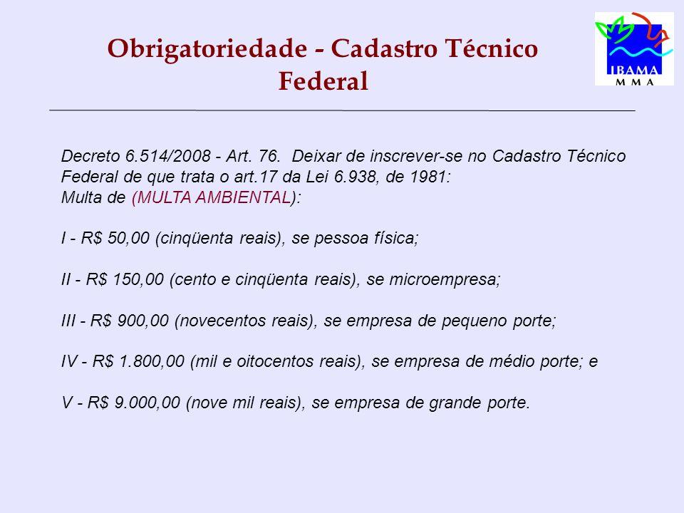 Obrigatoriedade - Cadastro Técnico Federal Decreto 6.514/2008 - Art.
