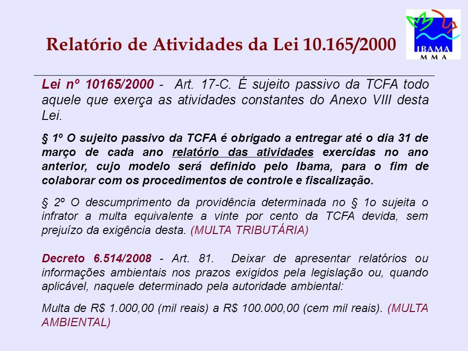 Relatório de Atividades da Lei 10.165/2000 Lei nº 10165/2000 - Art. 17-C. É sujeito passivo da TCFA todo aquele que exerça as atividades constantes do