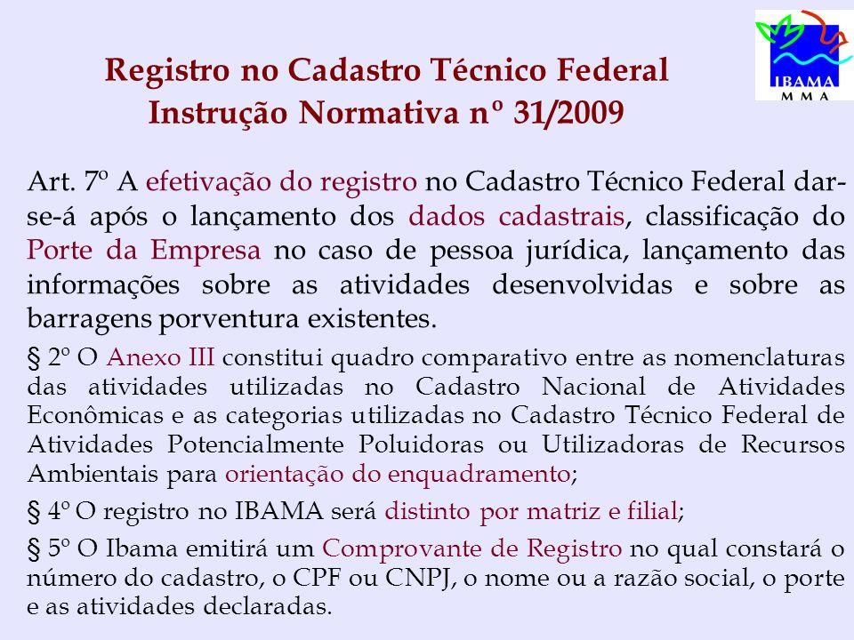 Registro no Cadastro Técnico Federal Instrução Normativa nº 31/2009 Art. 7º A efetivação do registro no Cadastro Técnico Federal dar- se-á após o lanç
