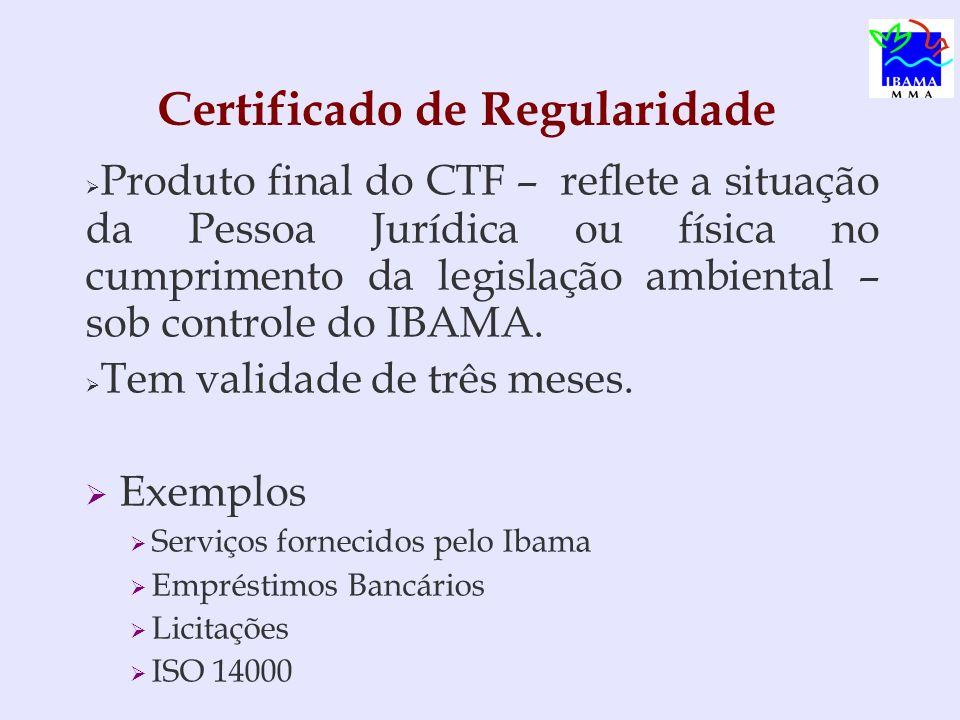 Produto final do CTF – reflete a situação da Pessoa Jurídica ou física no cumprimento da legislação ambiental – sob controle do IBAMA. Tem validade de