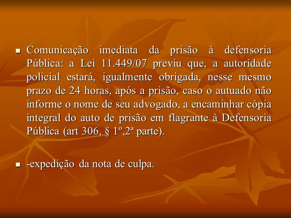 Comunicação imediata da prisão à defensoria Pública: a Lei 11.449/07 previu que, a autoridade policial estará, igualmente obrigada, nesse mesmo prazo